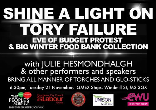 Click to view Manchester People's Assembly Eve of Budget Rally