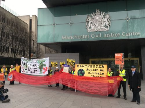 Click to view Anti-fracking Campaigners Outside Manchester Civil Justice Centre