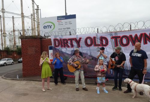 Click to view Salford Dirty Old Town gasworks demolition music protest
