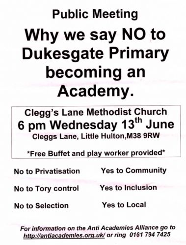 Click to view Dukesgate Primary School Little Hulton Opposing Academy