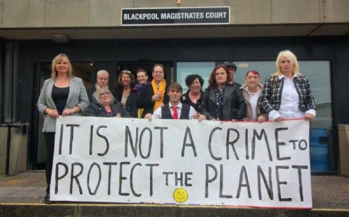 Click to view Lancashire Anti-Fracking residents and councillors outside court last week