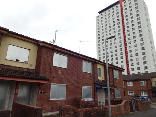 Click to view Pendleton tinned up affordable housing Salford