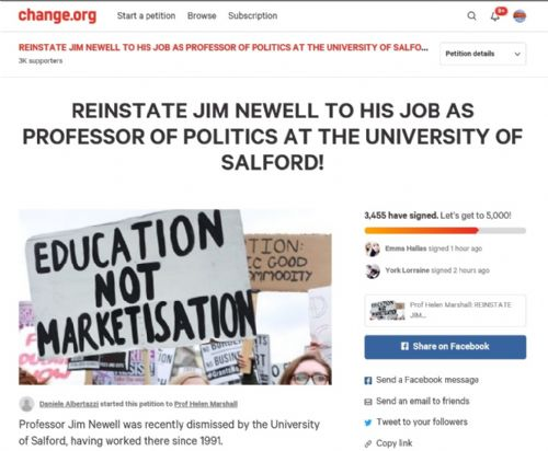 Click to view Petitioon to reinstate Prof Newell at Salford University