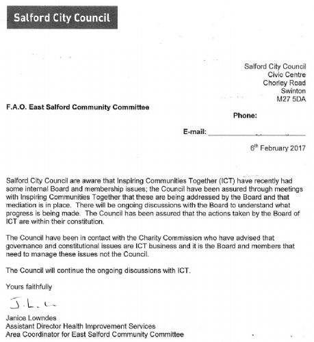 Click to view Salford Council letter to East Salford Community Committee