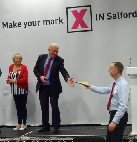 Click to view Salford Councillor Derek Antrobus receives his brown envelope on being re-elected