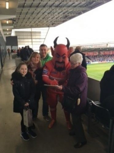 Click to view Salford Red Devils mascot signs petition to Save The Grange