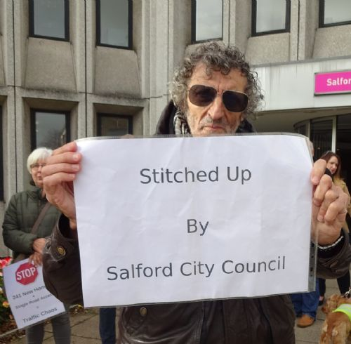 Click to view Swinton protesters bring Salford Council and Bellway Homes to table