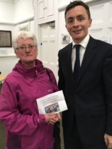 Click to view Sean Anstee with Save The Grange supporter Lynda
