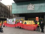 Anti-fracking Campaigners Outside Manchester Civil Justice Centre