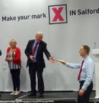 Salford Councillor Derek Antrobus receives his brown envelope on being re-elected